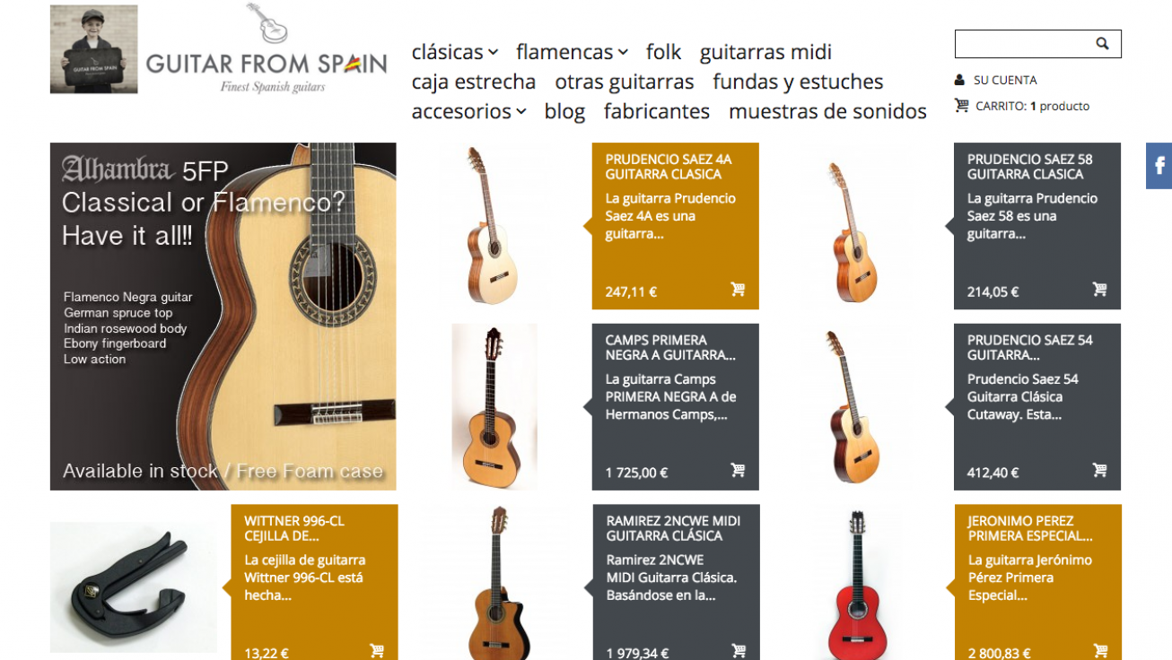 ecommerce guitar from spain